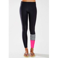 Active Elastic Waist Slimming Color Block Ninth Pants For Women
