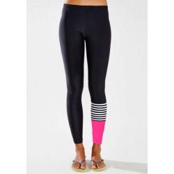 Active Elastic Waist Slimming Color Block Ninth Pants For Women
