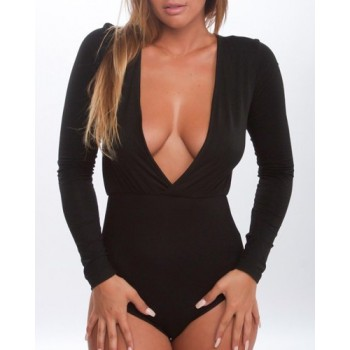 Alluring Plunging Neck Long Sleeves Pure Color Romper For Women white black