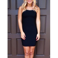 Attractive Backless Spaghetti Strap Bodycon Mini Dress For Women black