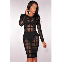 Bandage Caged Panty Lined Dress Nude Black