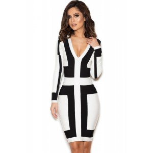 Black and White Graphic Print Bandage Dress