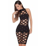Black Bandage Lattice Dress