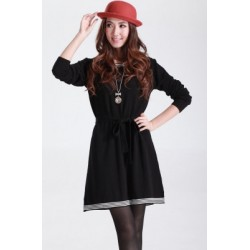 Black Casual Skater Style Sweater Dress with Belt