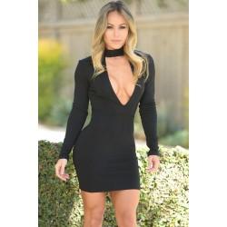 Black High Neck V Plunge Bodycon Mini Dress