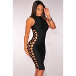 Black Lace up Contour Bandage Dress