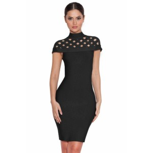 Black Lattice Bandage Dress