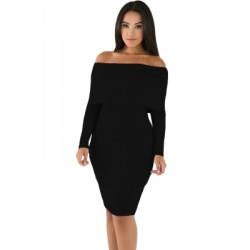 Black Mini Knit Jersey Off Shoulder Dress