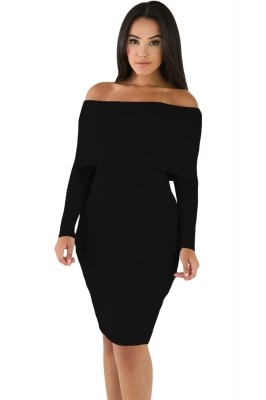 Black Mini Knit Jersey Off Shoulder Dress