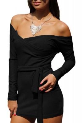 Black Off Shoulder Bodycon Club Dress with Self-tie