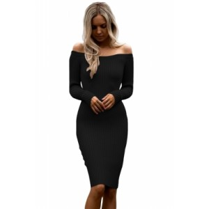 Black Off Shoulder Long Sleeve Rib Knit Sweater Dress