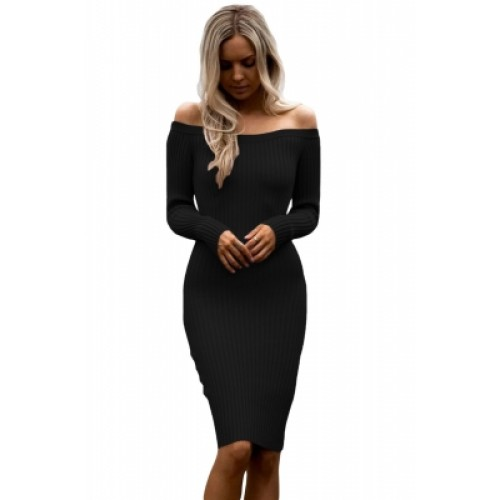 Black Off Shoulder Long Sleeve Rib Knit Sweater Dress Black Off