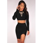 Black Open Back Long Sleeves Bandage Skirt Set