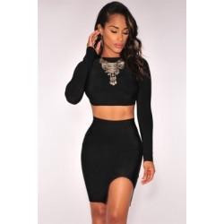 Black Open Back Long Sleeves Bandage Skirt Set