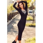 Black Ribbed Bodycon Long Sleeve Back Slit Sweater Dress