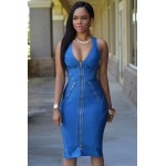 Blue Gold Zipper Luxe Bandage Dress