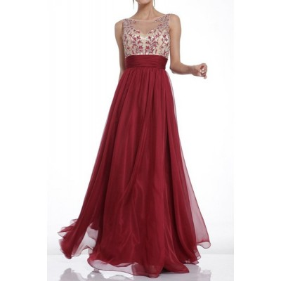 Boat Neck Print Spliced Backless Elegant Scoop Neck Sleeveless Maxi Dress For Women red