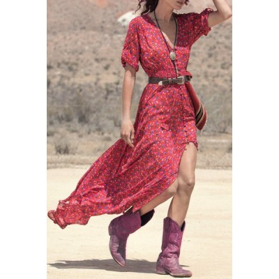 Bohemian Women's V-Neck Printed High Slit 3/4 Sleeve Dress