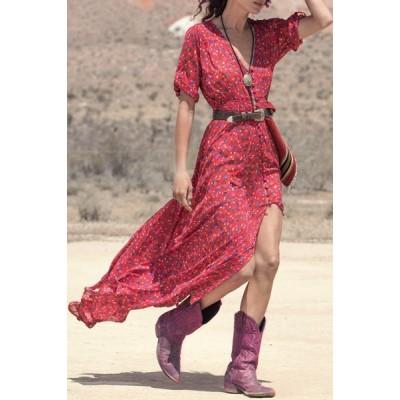 Bohemian Women's V-Neck Printed High Slit 3/4 Sleeve Dress