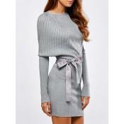 Bowknot Sash Batwing Knit Ribbed Dress