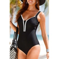 Brief Open Back V-Neck Sleeveless Swimsuit For Women