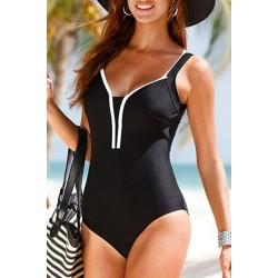 Brief Open Back V-Neck Sleeveless Swimsuit For Women