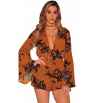 Brown Floral Print Bell Sleeves Romper