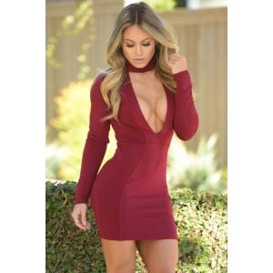 Burgundy High Neck V Plunge Bodycon Mini Dress