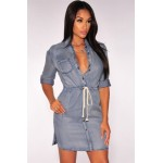 Button Down Denim Drawstring Dress blue