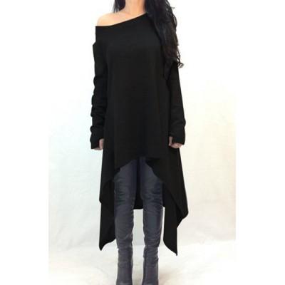 Casual Skew Neck Long Sleeve Solid Color Asymmetric Dress For Women black
