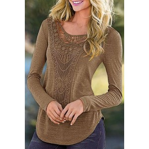 Casual Solid Color Scoop Neck Hollow Out Crochet Spliced T-Shirt For Women green black coffee