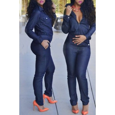 Casual Turn-Down Collar Long Sleeve Half Zippered Denim Jumpsuit For Women