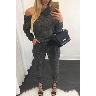 Casual Women's Skew Collar Gray Self-Tie Long Sleeve Jumpsuit