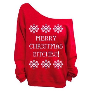 Charming Skew Neck Letter and Snowflake Printed Christmas Sweatshirt For Women BLACK, GREEN, RED, ROSE