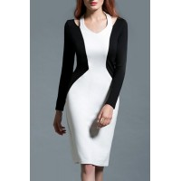 Charming V-Neck Long Sleeve Black and White Spliced Cut Out Dress For Women white