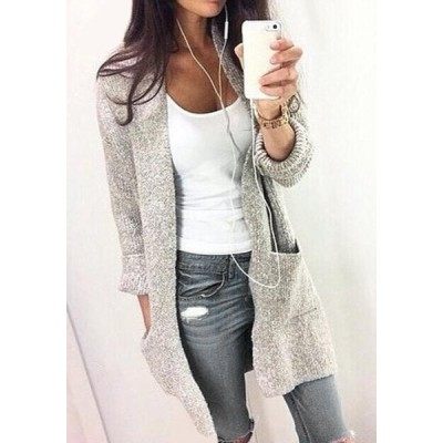 Chic Collarless Long Sleeve Pocket Design Gray Cardigan For Women gray