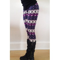 Chic Color Block Geometrical Print Skinny Leggings For Women purple
