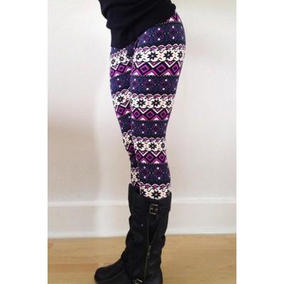Chic Color Block Geometrical Print Skinny Leggings For Women purple