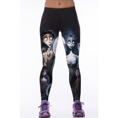 Chic Elastic Waist Slimming Printed Pants For Women