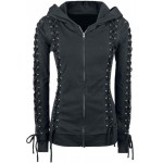 Chic Hooded Long Sleeve Lace-Up Zippered Hoodie For Women black