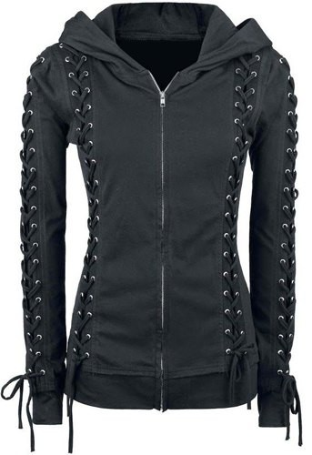 Chic Hooded Long Sleeve Lace Up Zippered Hoodie For Women
