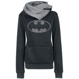 Chic Hooded Long Sleeves Pocket Design Printed Hoodie For Women black