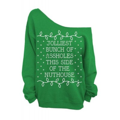 Chic Skew Neck Letter Print Christmas Sweatshirt For Women BLACK, GREEN, RED, ROSE