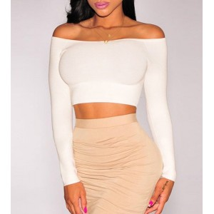 Chic Solid Color Low-Cut Off-The-Shoulder Long Sleeve Bodycon Crop Top For Women black white