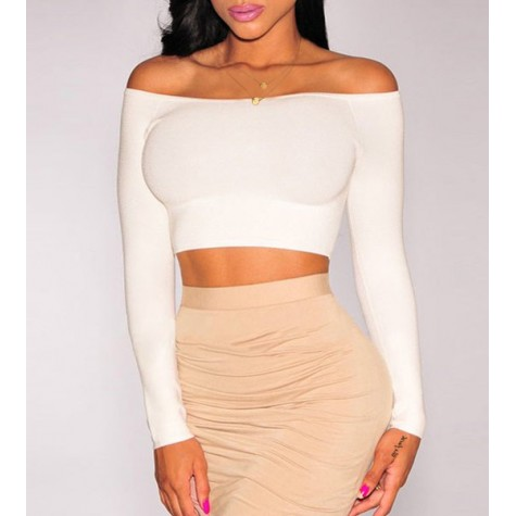 48db5d84468 Chic Solid Color Low-Cut Off-The-Shoulder Long Sleeve Bodycon Crop ...