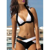 Chic Spaghetti Strap Color Block Criss-Cross Women's Bikini Set black white