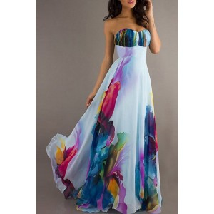 Chic Strapless Sleeveless Floral Print Maxi Dress For Women