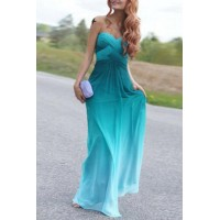 Chic Strapless Sleeveless Ombre Maxi Dress For Women