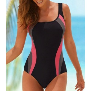 Chic U Neck Hit Color One-Piece Swimwear For Women