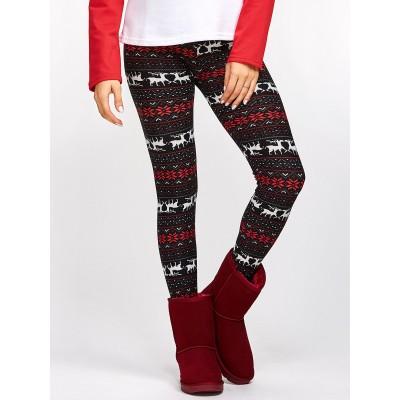 Christmas Fawn Snowflake Leggings